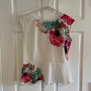 Worthington Floral Sleeveless Peplum Blouse